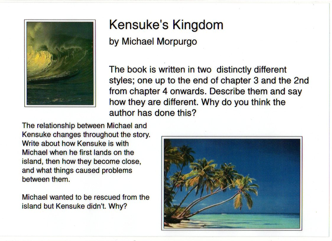 kensuke essay Shadowmaster: 'this book is fantastic, amazing, brilliant, interesting, sad, happy, exciting, incredible and thought-out well that's why you should read it.